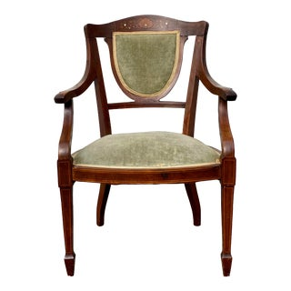 Early 20th Century Mother of Pearl Inlay Mahogany Side Chair For Sale