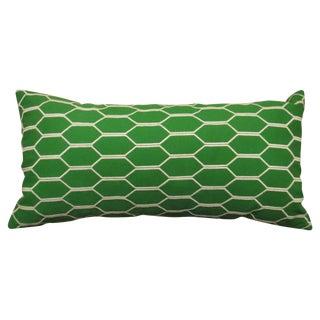 Geometric Green & White Throw Pillow