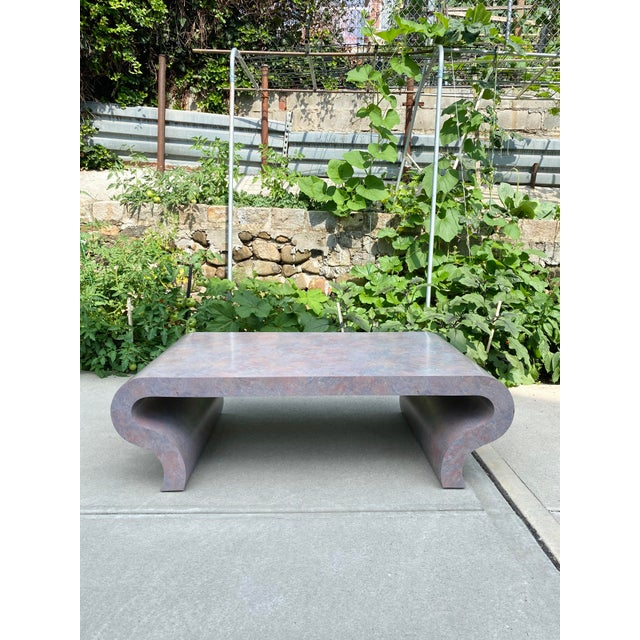Dove Gray 1970s Scroll Waterfall Coffee Table For Sale - Image 8 of 9