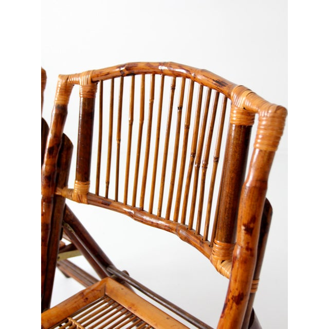 Vintage Bamboo Folding Chairs - a Pair For Sale - Image 5 of 10