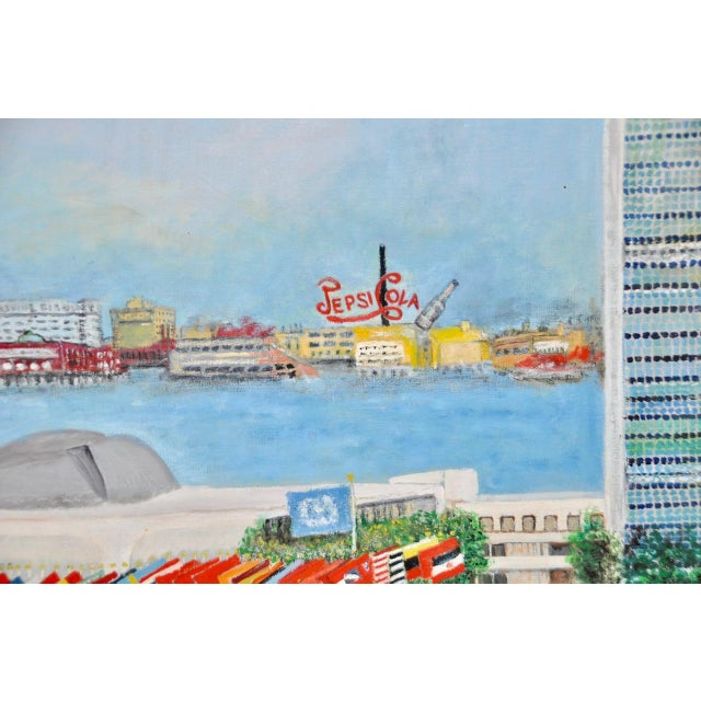 """Large Scale New York City """"United Nations"""" Folk Art Painting by Helen Mauldin C.1958 For Sale - Image 9 of 13"""