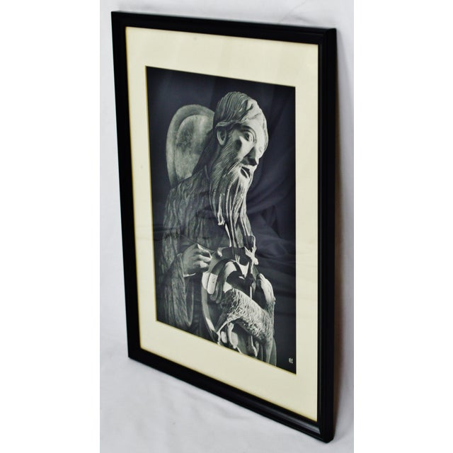 Vintage Framed Black and White Religious Print Jesus and Lamb For Sale - Image 4 of 8