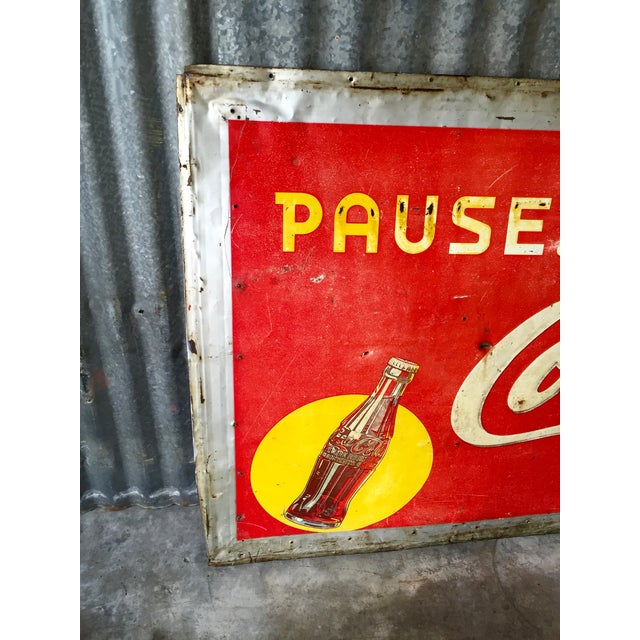 Vintage 1940s Original Metal Coca Cola Sign - Image 4 of 10