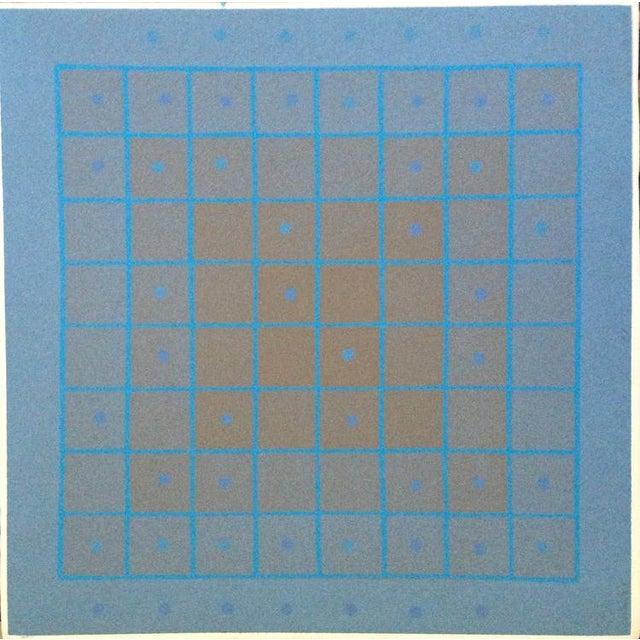 Blue 1973 Op-Art Silkscreen Signed Bay Area Artist For Sale - Image 8 of 8