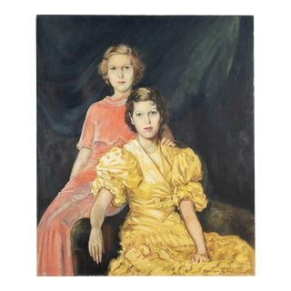 Large Art Deco Fashion Portrait of Two Women by Georges LaChance For Sale