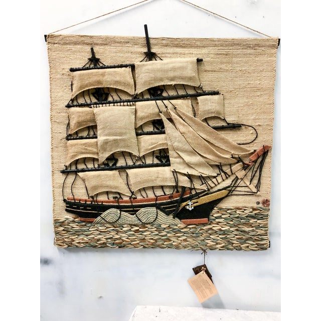 Boho Chic Don Freedman Macrame Wall Hanging of a Sailing Ship For Sale - Image 3 of 4