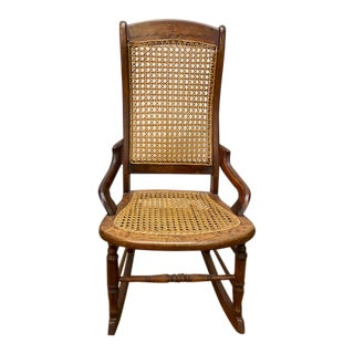 Antique Cane and Maple Rocker For Sale