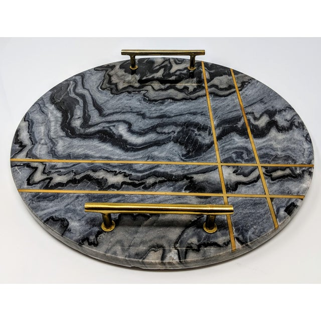 Gray Marble and Brass Circular Tray For Sale - Image 4 of 13