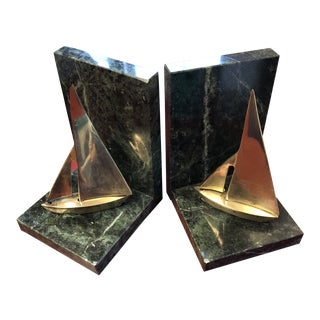 1970s Brass and Marble Sailboats Book Ends - a Pair For Sale