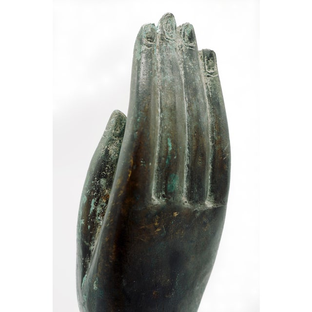 Metal Vintage Bronze Hand Statue For Sale - Image 7 of 9
