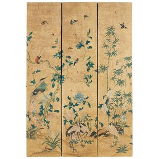 Continental Painted Chinoiserie Wallpaper Screen With Decoupage For Sale