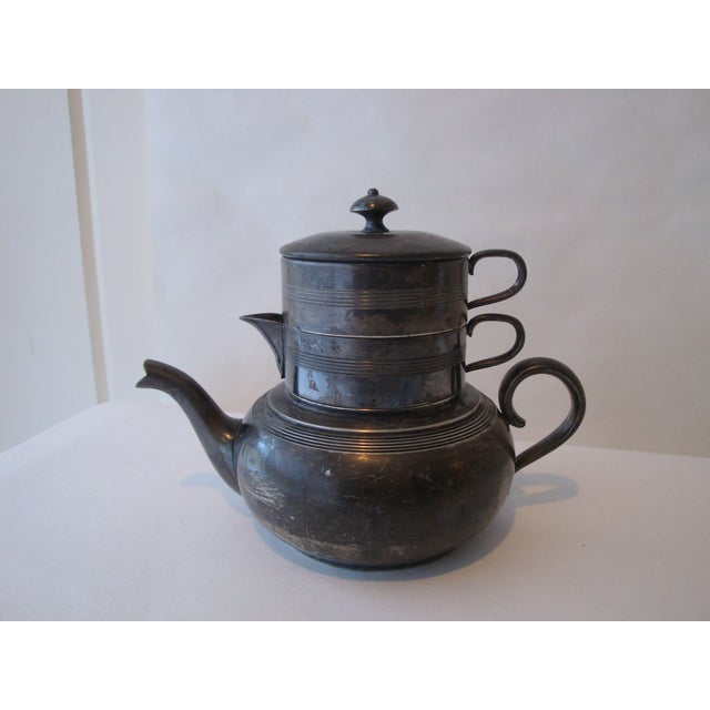 Antique Stacking Tea Pot, Creamer and Cup Set - Image 2 of 5