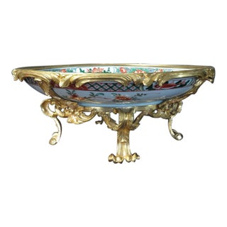 French Ormolu Mounted Kangxi Period Famille Verte Porcelain Centerpiece For Sale