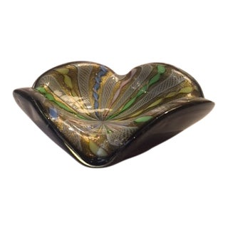 1960s Gold Fleck Multi-Colored Murano Ashtray For Sale