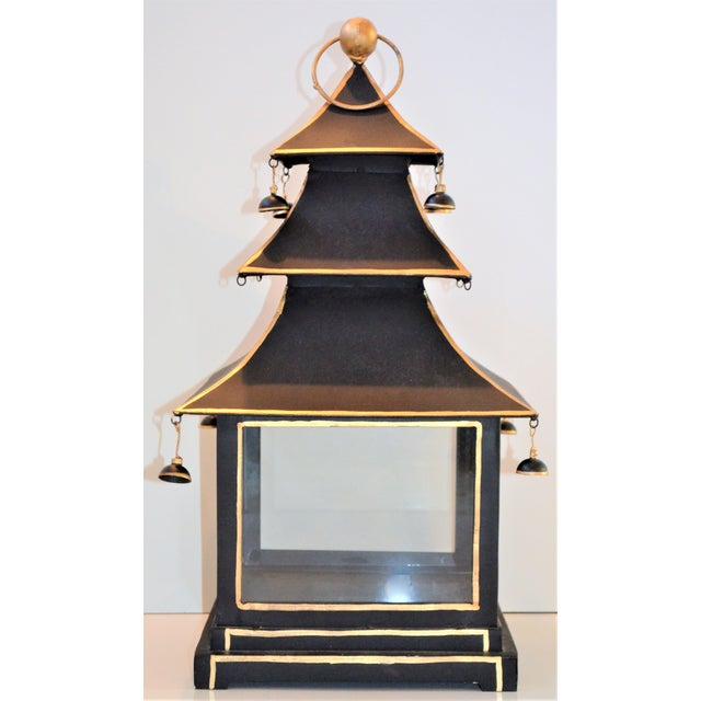 Vintage Chinoiserie Black and Gold Pagoda Hurricane Lantern For Sale - Image 4 of 6