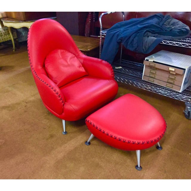 Red Mathias Hoffmann for De Sede Chair and Ottoman For Sale - Image 8 of 8