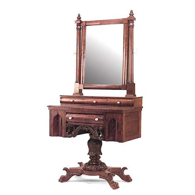 Wood American Empire Gothic Mahogany Dressing Table For Sale - Image 7 of 7