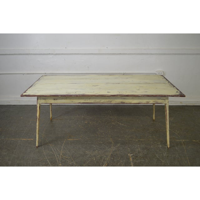 Custom Distressed Antique White Farmhouse Dining Table - Image 6 of 10