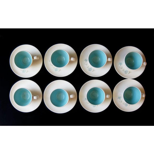 Mid-Century Modern Vintage Ever Yours Boutonniere Robin Egg Blue Interior Coffee or Tea Cups and Saucers by Taylor, Smith and Taylor - Set of 8 For Sale - Image 3 of 6