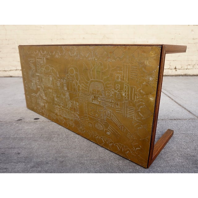 Italian Acid Etched Brass Coffee Table - Image 3 of 5