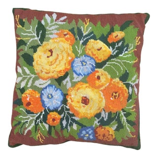 Vintage Needlepoint Floral Pillow