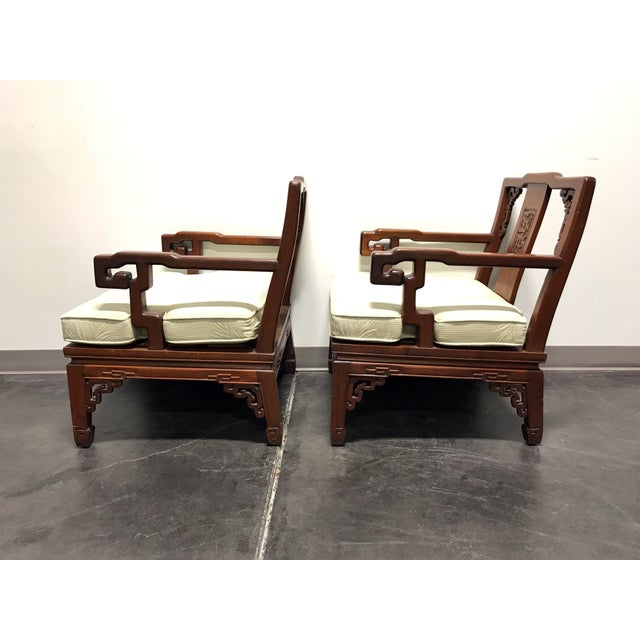 Early 21st Century Asian Korean Carved Mahogany Lounge Chairs - Pair For Sale - Image 5 of 11