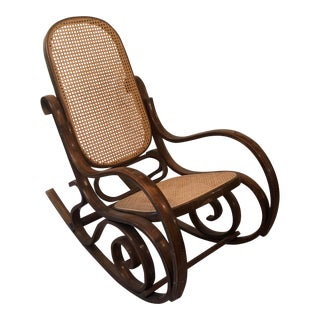 Classic Vintage Thonet Style Bentwood Rocking Chair For Sale
