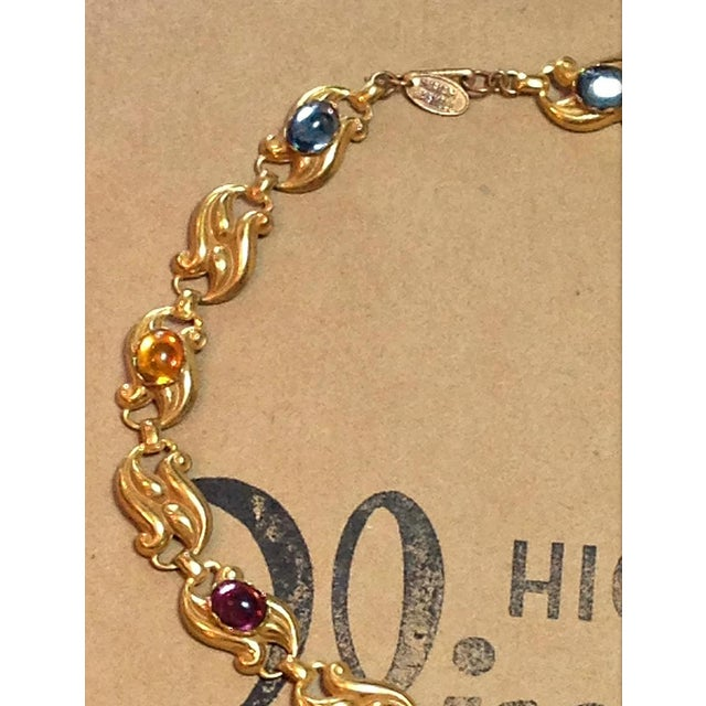 Vintage Miriam Haskell Gold Multi Color Glass Stones Swirl Design Necklace 1950s For Sale - Image 4 of 7