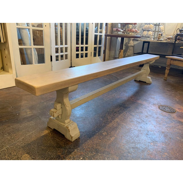 Vintage Mid Century French Blue-Gray Trestle Bench For Sale - Image 13 of 13