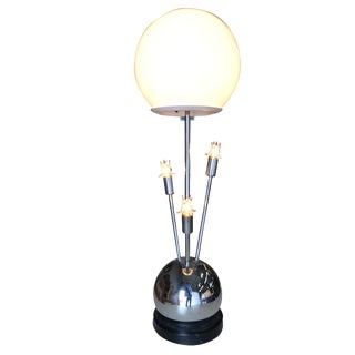 Space Age Chrome Ball Table Lamp W/ Fours Lights, Attributed to Torino For Sale