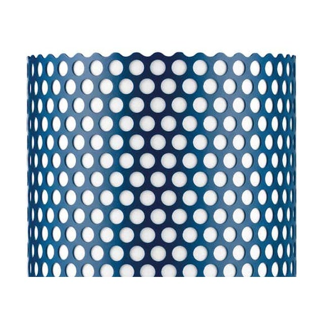 Joaquim Ruiz Millet 'ABC' table lamp in blue. Executed in a blue painted perforated metal shade with white interior...