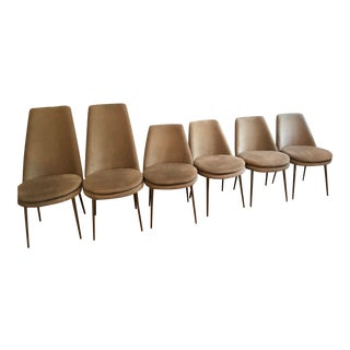 West Elm Upholstered Gray Rubbed Bronze Legs Dining Chairs - Set of 6 For Sale