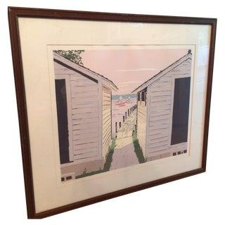 Pastel Lake House Framed Print