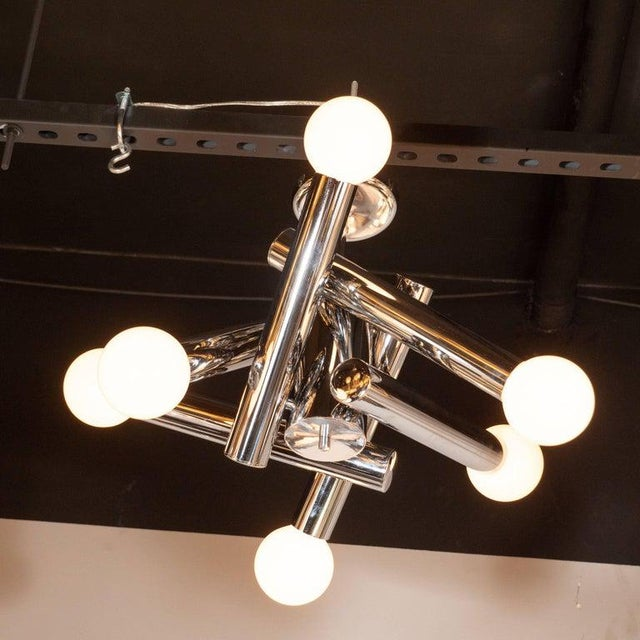 Mid-Century Modern Mid-Century Modern Sculptural Chrome and Frosted Glass Chandelier by Sciolari For Sale - Image 3 of 8