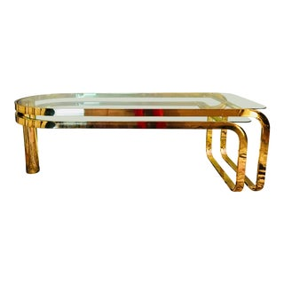 1980s Hollywood Regency Glass and Brass Coffee Table For Sale