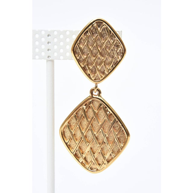 Modern Chanel Marked Double Criss Cross Hanging Clip on Earrings - a Pair For Sale - Image 3 of 9