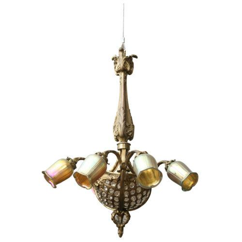 19th Century Gilt Bronze/ Crystal Basket/Heavy Louis XV Style Wheel Cut Crystal Chandelier - Image 5 of 6