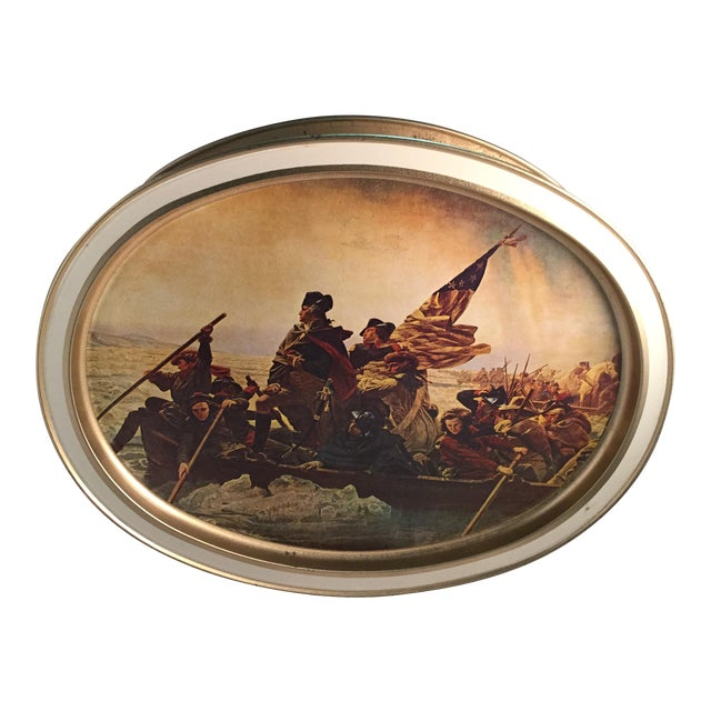 Washington Crossing the Delaware Decorative Biscuit Container For Sale