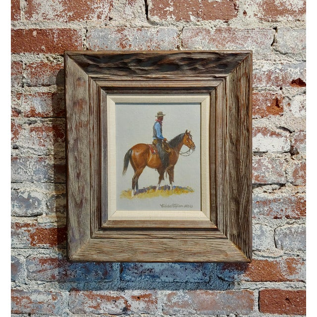 "Silver 1968 ""Cowboy"" Western Oil Painting by Nicholas Samuel Firfires For Sale - Image 8 of 8"