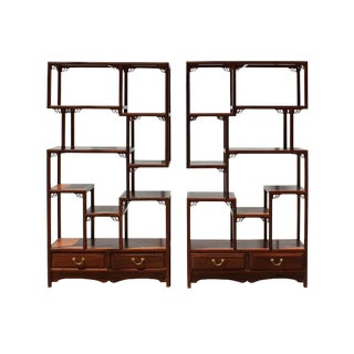 Chinese Pair Elm Wood Treasure Display Curio Cabinets Room Divider For Sale