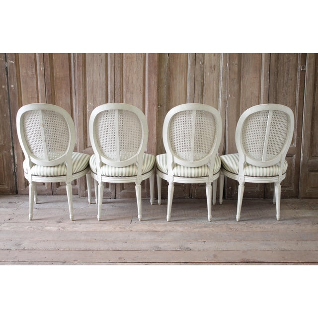 Early 20th Century Louis XVI Style French Painted Cane Back Dining Chairs -Set of 4 For Sale - Image 5 of 11