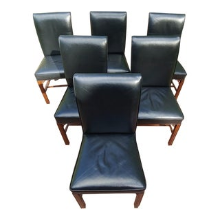 Custom Black Leather Occasional Chairs by Church Street Interiors of Charleston- Set of 6 For Sale