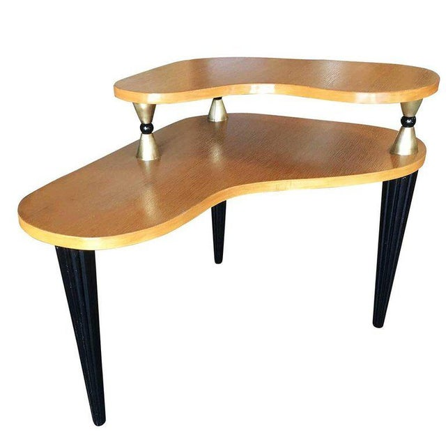 Mid-Century Modern Gilbert Rohde Style Two-Tier Biomorphic Side Table, Pair For Sale - Image 3 of 5