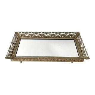 Vintage Mid-Century Hollywood Regency Style Mirrored Tray For Sale