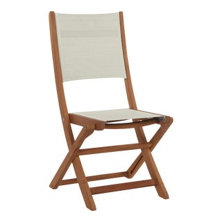Stella Teak Outdoor Folding Chair in White Textilene Fabric For Sale