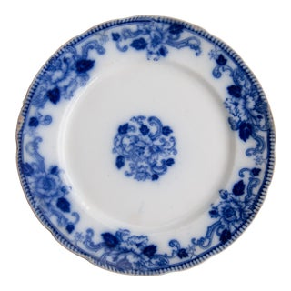 Antique 19th-Century English Flow Blue Delft Plate For Sale