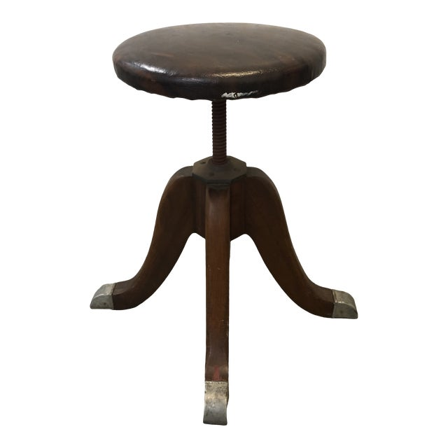 Vintage Hamilton Wood and Iron Industrial Rolling Swivel Stool For Sale