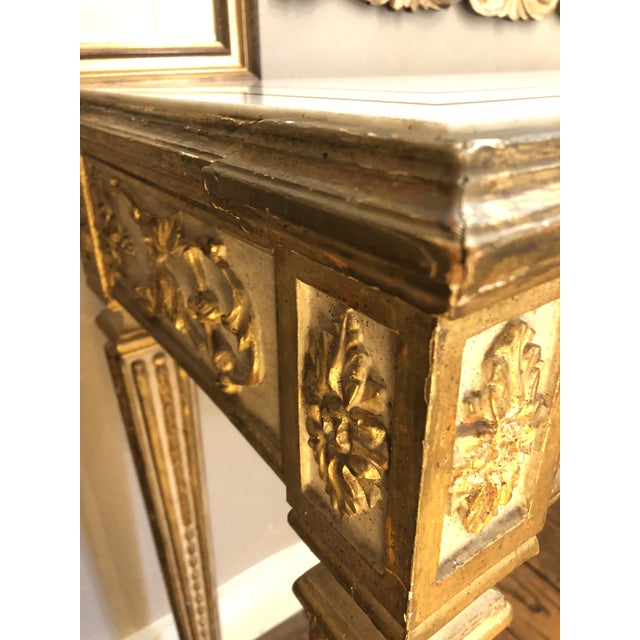 Antique Gilded Painted Italian Regency Console Table With Marble Top For Sale - Image 10 of 11
