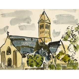Wornser, Vintage Watercolor Church Painting For Sale