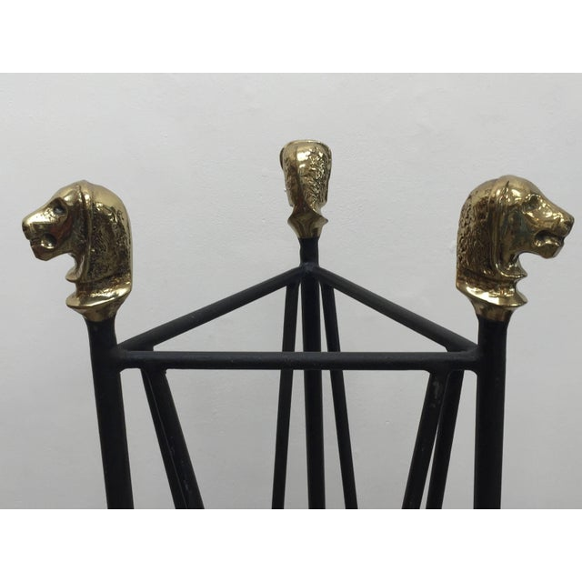 Neoclassical Style Pedestals Iron Stand With Lion Brass Heads & Paw Feet For Sale In Los Angeles - Image 6 of 11